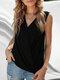 Solid V-neck Sleeveless Tank Top for Women - Black