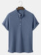 Mens Knitted Texture Solid Color Short Sleeve Henley Shirt - Blue