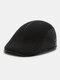 Men Ear Protection Keep Warm Plain Color Casual Forward Hat Beret Hat Flat Cap - Dark Gray