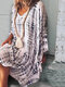 Tie-dyed Print Long Sleeve V-neck Loose Casual Dress For Women - White
