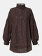 Floral Print Patchwork Long Sleeve Loose Casual Blouse For Women - Coffee