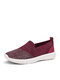 Women Rhinestone Decor Knitted Fabric Comfy Breathable Casual Slip On Flat Sneakers - Wine Red