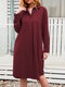 Casual Solid Color A-Line Long Sleeve Cotton Shirt Dress - Wine Red