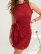 Bowknot O-neck Solid Color Sleeveless Bodycon Sexy Dress - Brick Red