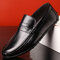 Men Plaid Low Top Soft Sole Slip On Driving Casual Loafers - Black