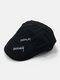 पुरुष पत्र कढ़ाई ठोस रंग आकस्मिक फैशन Sunvisor फ्लैट टोपी आगे टोपी टोपी टोपी - काली