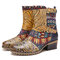 SOCOFY Retro Cloth Splicing Flower Embossed Cowhide Leather Slip Resisstant Chunky Heel Short Boots - Blue
