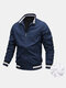 Mens Zip Up Thick Plush Lined Casual Jackets With Contrast Ribbed Trim - Blue