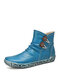 SOCOFY Retro Warm Lining Comfy Solid Color Round Toe Side Zipper Winter Casual Short Boots - Blue