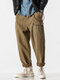 Mens Solid Color 100% Cotton Zipper Fly Relaxed Fit Cargo Pants - Khaki
