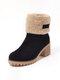 Suede Warm Lining Platform Ankle Boots - Black