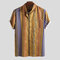 Mens Multi Color Striped Ethnic Style Turn Down Collar Loose Shirts