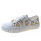 Women Comfy Pattrern Canvas Shoes Casual Lace-up Flat Shoes - White