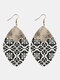 Vintage PU Leather Alloy Geometric-shape Patchwork Argyle Floral Printing Earrings - #03