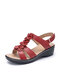 Women Pure Color Flowers Decoration Wedges Heels Slingback Sandals - Red