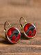 Vintage Glass Gem Dangle Women Earrings Animal Insect Cats Birds Pattern Earrings - #16