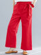 Solid Tie Side Elastic Waist Casual Women Pants with Pocket - Red