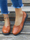 Women Solid Color Flowers Pattern Hollow Out Slip On Flats - Dark Brown
