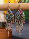 Vintage Bohemian Hollow Drop Flower Shape With Tassel Inlaid Rhinestones Alloy Earrings - Colorful