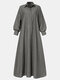Solid Color Pocket Lapel Collar Long Sleeve Casual Dress For Women - Gray