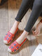 Women Casual Comfortable Round-toe Espadrilles Embroidered Canvas Flats - Red