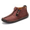 Men Hand Stitching Leather Non Slip Side Zipper Casual Boots - Red