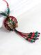 Vintage Flowers Tassel Pendant Round-shape Ceramic Alloy Wood Necklaces - Red