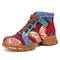 SOCOFY Butterfly Embroidery Splicing Embossed Genuine Leather Casual Hook Loop Flat Ankle Short Boots - Red