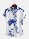 Mens Chinese Style Porcelain Floral Printed Short Sleeve Turn Down Collar Casual Shirt - Blue