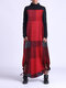 Contrast Color Plaid Print Patchwork Long Sleeve Maxi Dress For Women - Wine Red