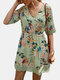 Casual Floral Printed A-line Hollow Out V-neck Short Sleeve Mini Dress - Green