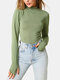 Women Solid Color Long Sleeve High Neck Casual T-Shirt - Green