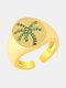 الزركون أشابة خواتم الخاتم النحاسي وجوز الهند القابلة للتعديل - ذهب (أخضر