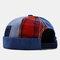 Men & Women Fashion Denim Patch Plaid Stitching Landlord Hat Skull Caps - Blue