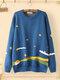 Cartoon Graffiti Print Knit Plus Size Sweater for Women - Blue