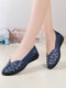 Women Brief Solid Color Stitching Hollow out Breathable Round Toe Loafers Shoes - Blue