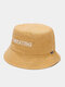 Unisex Washed Made-old Cotton Solid Letter Embroidery Fashion Sunscreen Bucket Hat - Yellow