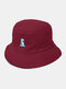 Unisex Cotton Solid Color Cartoon Little Dinosaur Embroidery All-match Sun Protection Bucket Hat - Wine Red