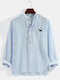 Mens Pinstripe Dog Chest Embroidery Linen Casual Long Sleeve Henley Shirts - Blue