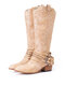 Women Pointed Toe Chunky Heel Hollow Out Quilting Retro Elegant Mid-Calf Cowboy Boots - Khaki