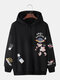 Mens Cartoon Planet Print Cotton Loose Casual Elastic Hem Pullover Hoodies - Black