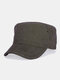 Men Solid Color Keep Warm Outdoor Flat Hat Military Hat - Brown