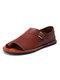 Large Size Women Retro Solid Color Buckle Clip Toe Flat Sandals - Brown