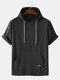 Mens Solid Color Breathable & Thin Loose Casual Hooded T-Shirts - Black