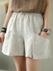 Elastic Waist Solid Color Wide Leg Casual Shorts For Women - Apricot