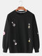 Mens Letter Cartoon Animal Dyeing Fun Round Neck Casual Sports Hoodie - Black