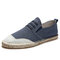 Men Canvas Splicing Breathable Hand Stitching Casual Fisherman Shoes - Blue
