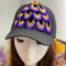 Women Embroidered Printed Feather Baseball Cap - Purple