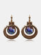 Vintage Carved Spiral Women Earrings Colored Oil Painting Pendant Earrings Jewelry Gift - Gold