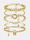 Hip Hop Lock Bracelet Metal Geometric Round Buckle Bracelet Set - Gold
